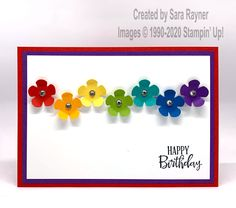 Small Bloom rainbow card - Sara's crafting and stamping studio Simple Birthday Cards, Homemade Birthday Cards, Happy Birthday Cards, Homemade Cards, Flower Birthday Cards, Happy Birthdays, Card Birthday, Diy Birthday, Rainbow Card