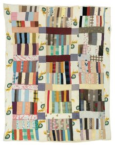 """Stacked Bricks"" Nettie Young 1928 Cotton and corduroy 81 x 69 inches"