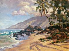 """Painting """"Morning Reflections"""" by artist Jan Bushart.  This was painted at Charley Young Beach in Kihei, HI"""