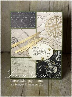 A La Cards: Manly Birthday - SU - Masculine birthday card featuring the Sky is the Limit stamp set and Going Places DSP stack