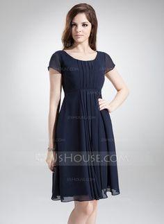 A-Line/Princess Scoop Neck Knee-Length Chiffon Bridesmaid Dress With Ruffle (007020655)