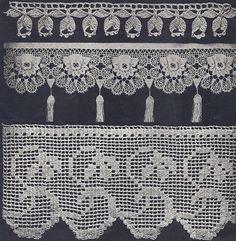 Vintage Antique Crochet PATTERN to make Fancy Wide Edging Flower Filet 3Thick
