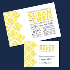 @ Morgan Harris....LOVE THESE!! Printable Damask Yellow and Navy Wedding Invitation and RSVP. $30.00, via Etsy.