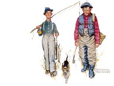 """Norman Rockwell """"Two Old Men and a Dog, the Catch"""" (1950)"""