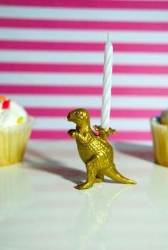 Golden Dinosaur Candle Holder by TonysDinostore on Etsy
