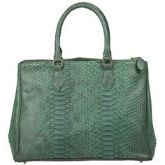 f3057fad539587 Exotic Leather Purses · Daniella Python Handbag in Emerald Green Brass  Hardware, Python, Emerald Green, Leather Purses