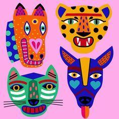 Central American inspired animals, work in progress Art And Illustration, Illustration Design Graphique, Illustrations And Posters, Animal Illustrations, Design Illustrations, Fashion Illustrations, Kunst Inspo, Art Inspo, Cute Animal Drawings