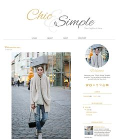 Blogger Template Premade Blog Theme  Chic & Simple by AdrienDesign