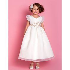 A-line Princess V-neck Tea-length Organza Flower Girl Dress (733993) – AUD $ 118.05
