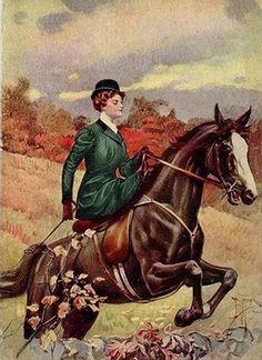 Sanford, WM - Horsewoman (Sidesaddle) Jumping Hedge
