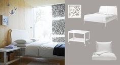 DUKEN bed with IKEA PS 2012 coffee table and DVALA quilt cover/pillowcases all in white