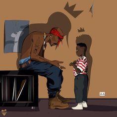 Tupac passes the rap movement to Kendrick Lamar! Arte Do Hip Hop, Hip Hop Art, Cartoon Kunst, Cartoon Art, King Kendrick, To Pimp A Butterfly, Tupac Wallpaper, Tupac Art, Arte Black