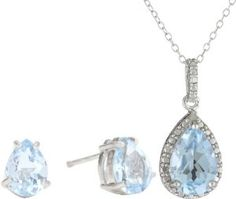 Sterling Silver Genuine Diamond and Blue Topaz Pendant Necklace and Earrings Set - http://www.wonderfulworldofjewelry.com/jewelry/jewelry-sets/sterling-silver-genuine-diamond-and-blue-topaz-pendant-necklace-and-earrings-set-com/ - Your First Choice for Jewelry and Jewellery Accessories