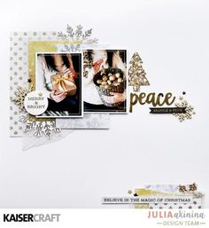 Kaisercraft  Glisten Christmas Scrapbook Layouts, Scrapbooking Layouts, Scrapbook Pages, Christmas Photos, Christmas Crafts, Xmas, Glue Crafts, Paper Crafts, Touch Of Gold