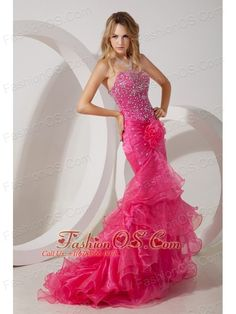 Hot Pink Mermaid Strapless Brush Ruffles Train Prom / Evening Dress with Beading  www.fashionos.com  The dress is mermaid style and features a strapless neckline with a big nice flower in right waist which is elegant but sexy. The chic beading trimed whole bodice hugs your curves past your hips and skirt is made from several gorgeous tiers of wrapped ruffles that blend perfectly all the way to the floor.