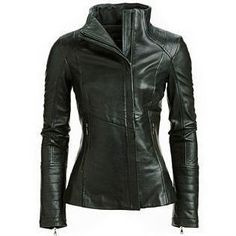 Womens leather jacket. Zippered leather jacket Zippered side pockets High collar Patchwork on zippered sleeves Assymetric cut across jacket Soft supple leather Made with 100% genuine leather A classy