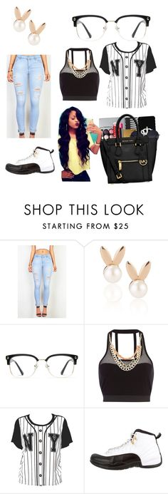 """""""black and white"""" by kalynnwaite ❤ liked on Polyvore featuring Aamaya by priyanka, GlassesUSA, Pacha and NIKE"""