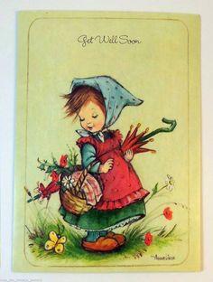 Sweet girl by AnneLiese Vintage Cards, Vintage Postcards, Vintage Images, Penny Parker, Old Cards, Holly Hobbie, Cartoon Pics, Big Eyes, Retro
