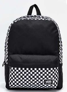 Organize your gear in style with the Van's Realm Classic DIY Checkerboard Backpack. The simple styling of the Realm, combined with Van's signature checkerboard print makes for a great place to store all of your necessities for school, or better yet, adven Cute Backpacks For School, Cute Mini Backpacks, Trendy Backpacks, Backpacks For Sale, Leather Backpacks, Leather Bags, White Backpack, Backpack Bags, Fashion Backpack