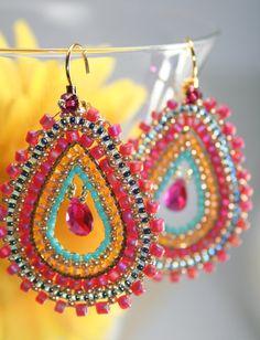 Spanish Dance Exotic Tear inside Teardrop - Gypsie beaded woven Earrings Indian Trendy