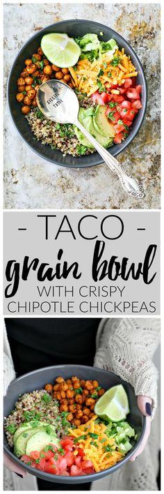 Taco Grain Bowl With Crispy Chipotle Chickpeas   K…