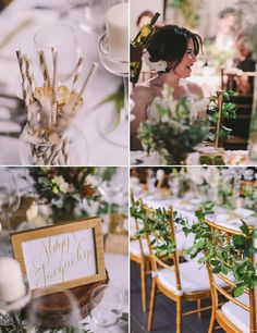 A gold and green theme keeps the decor chic | The Wedding Notebook July 2015