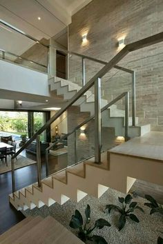 Most people dream of a big house with two or more floors. SelengkapnyaTop 10 Unique Modern Staircase Design Ideas for Your Dream House Home Stairs Design, Modern House Design, Stair Design, Escalier Design, Glass Stairs, Glass Railing, Modern Stairs, House Stairs, House Goals