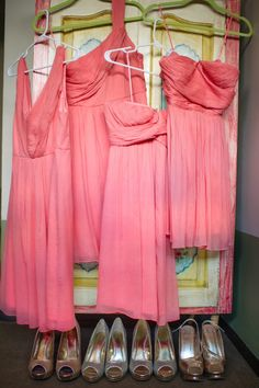 Coral bridesmaids dresses for a spring wedding. (for a friend) :)