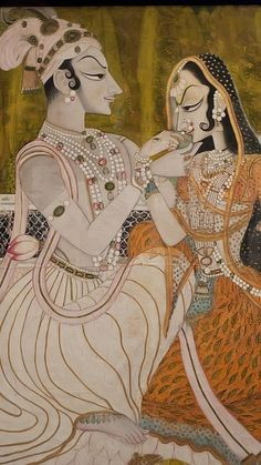 Krishna and Radha representing the union of the divine (Krishna) with the adoring human soul (Radha) India Rajasthan Kishangarh 1750 CE Opaque watercolor and gold on cotton, via Flickr.