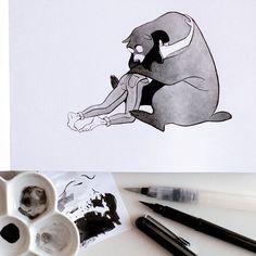 Inktober 5: Triste. Un câlin c'est toujours une bonne idée.  Inktober 5: Sad. A hug is always a good idea.  #inktober #inktober2016 #drawingchallenge #inking #ink #drawing #illustration #artistsoninstagram #art #sketch #sketchbook #pentel #pentelbrushpen #bear #ours #hug #calin