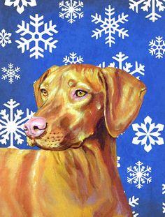 Vizsla Winter Snowflakes Holiday Flag Canvas House Size