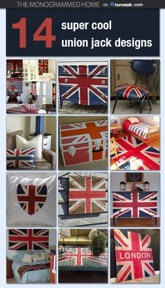 These design ideas are so cool! Just one little union jack piece adds a serious punch of fun and style to any room!