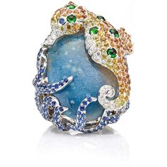 Wendy Yue Seahorse Sapphire Ring ($16,485) ❤ liked on Polyvore featuring jewelry, rings, sea horse ring, drusy jewelry, sapphire jewellery, sapphire jewelry and sea horse jewelry