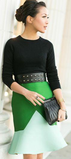 Winter Green :: Colorblock skirt & Brazil memories / Wendy's LookBook