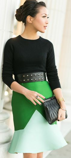 Winter Green :: Colorblock skirt & Brazil memories / Wendy's LookBook