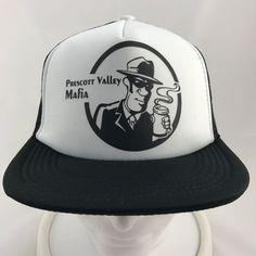 72a8a2840473b Prescott Valley Mafia Dutch Bros Snapback Trucker Hat New Unworn Black  White  District  BaseballCap
