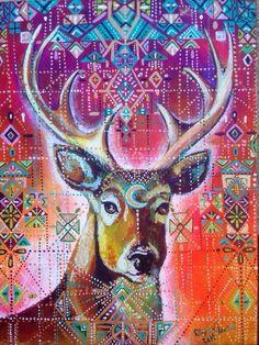 Cabeza de ciervo geometría sagrada indígena por MariposaGalactica