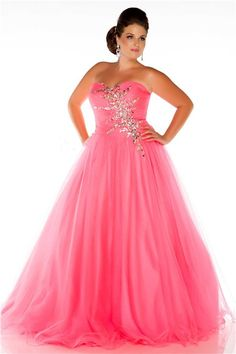 Glamorous A Line Strapless Long Neon Coral Tulle Beaded Plus Size Prom Dress