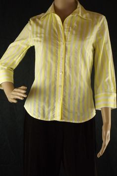 Banana Republic Sz S Blouse Yellow White Striped Button Front 3/4 Sleeve Cotton #BananaRepublic #Blouse #Career