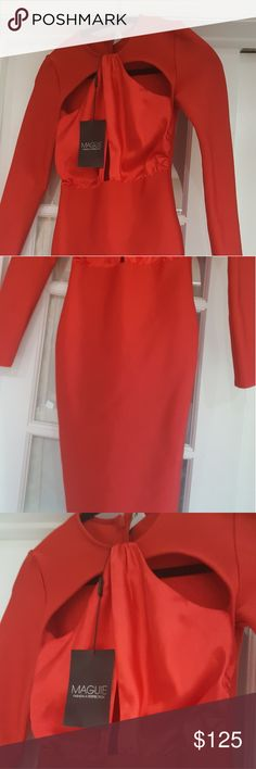 Stunning red dress mid size leg bodycon Stunning red dress mid size leg bodycon..strech material with lace material on the bossom, very sexy very flattering Dresses Midi