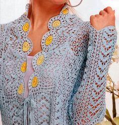 Sarı çiçekli bayan tığ işi hırka modeli - Kadın Moda