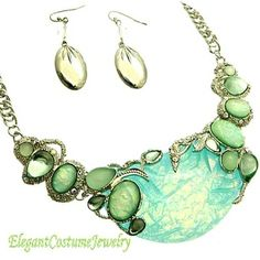 Blue Opal Chunky Statement Necklace Set Elegant Jewelry