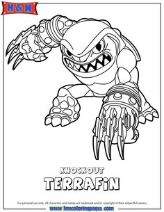 Skylanders Swap Force Earth Knockout Terrafin Coloring Page