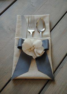 rustic wedding, grey, ivory, handmade fabric flatware holder