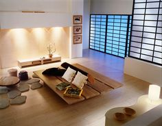 Japanese Living Room with Combination Of Modern and Traditional