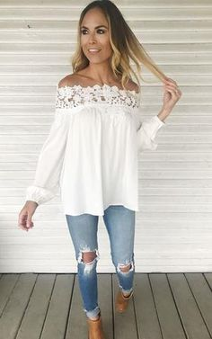 Elinor. Lace off the shoulder top. White off the shoulder top. Long sleeve light weight top. Spring/Summer top.