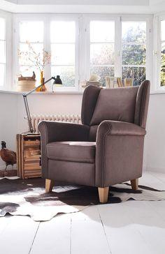 Elegant eleganter Sessel Malte gem tlicher Ohrensessel in Braun mit ergonomisch geformtem Schaumstoff im R cken garantiert ein