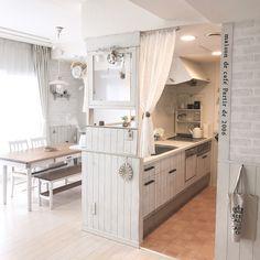 窓枠DIY/収納DIY /ナチュラルフレンチ/キッチンカウンター/LABRICO…などのインテリア実例 - 2017-04-08 21:44:50 | RoomClip(ルームクリップ)