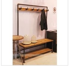 American vintage clothing store shelf floor hangers coat rack made of old iron pipes clothing display-in Wood Tables from Furniture on Aliexpress.com   Alibaba Group