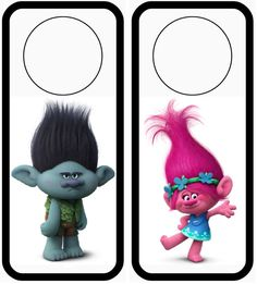 "Trolls door hangers great DIY craft for kids holiday activities add fun sayings like ""DO NOT DISTURB CLEANING"" to pop in kids party bags !"